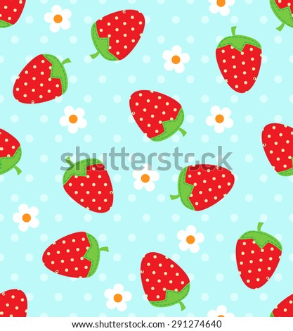 Seamless vector strawberry pattern - stock vector