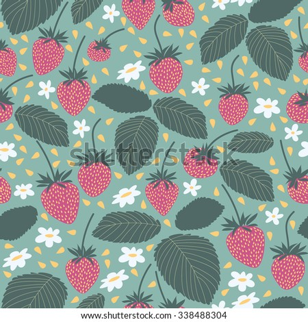 Seamless vector strawberry pattern. Berry isolated on white background. Design artistic element for card, print, template, wallpaper, texture, textile.
