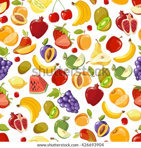 Seamless vector summer juicy fruit and berries exotic cocktail. Endless summer fruit and sweet vitamin fruit pattern illustration - stock vector