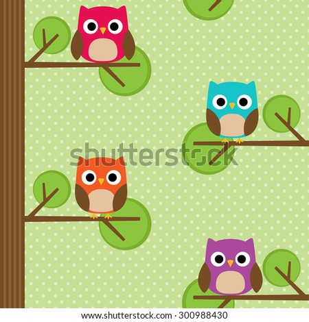 Seamless vector summer pattern with tree and owl sitting on branches - stock vector