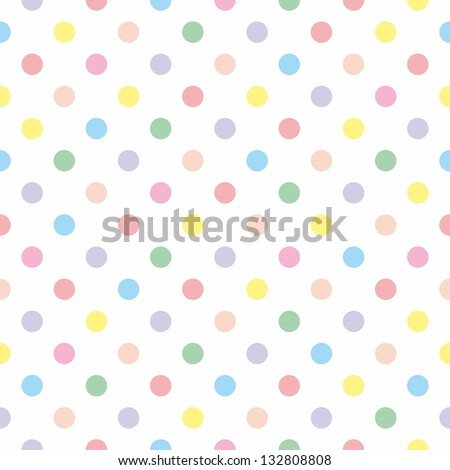 Seamless vector sweet pattern or texture with colorful pastel polka dots on white background for kids background, blog, web design, scrapbooks, party or baby shower invitations and wedding cards. - stock vector