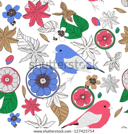 Seamless vector texture with birds, leafs and fruits - stock vector