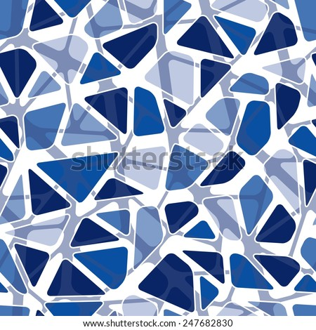 Seamless vector texture with blue rounded tiles - stock vector