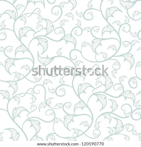 Seamless vector texture with drawing leafs