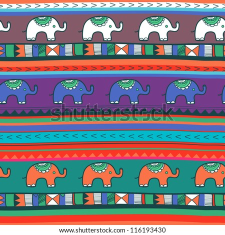 Seamless vector texture with elephants - stock vector