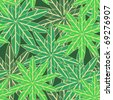Seamless vector texture with green leafs - stock vector