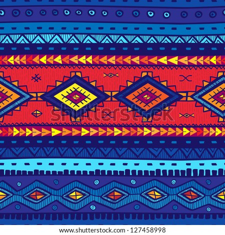 Seamless vector tribal background. Blue background. Vector illustration. Seamless tribal texture look like carpet. Mexican motif. - stock vector