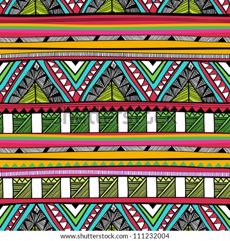 Seamless vector tribal pattern - stock vector