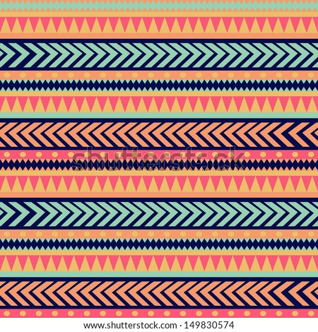 Seamless vector tribal texture. Tribal vector pattern. Colorful ethnic striped pattern. Geometric borders. Traditional ornament. Hand drawn abstract backdrop. Wallpaper for pattern fills, web page - stock vector