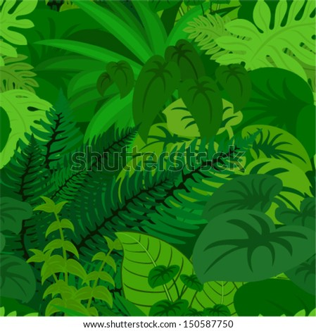 Seamless vector tropical rainforest Jungle background  - stock vector