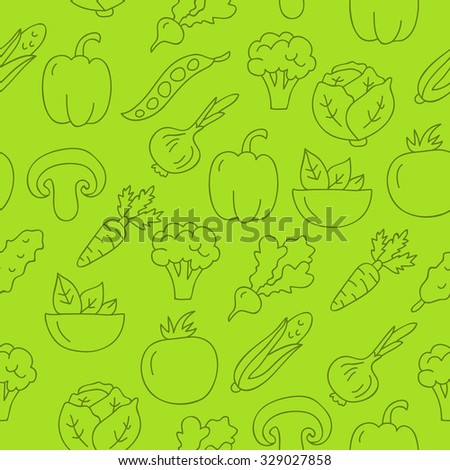Seamless vector vegetarian pattern of different vegetables on a green background, painted by hand.