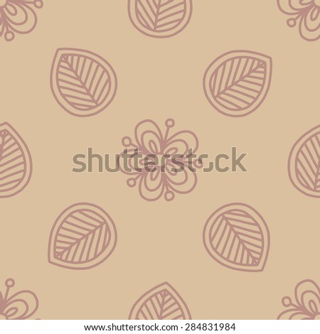 Seamless vector vintage hand-drawn illustration. Floral ethnic ornament. Romantic background. Mehndi pattern. Doodle backdrop. Hand draw flowers and leafs. Decorative backdrop. Kids room design. - stock vector