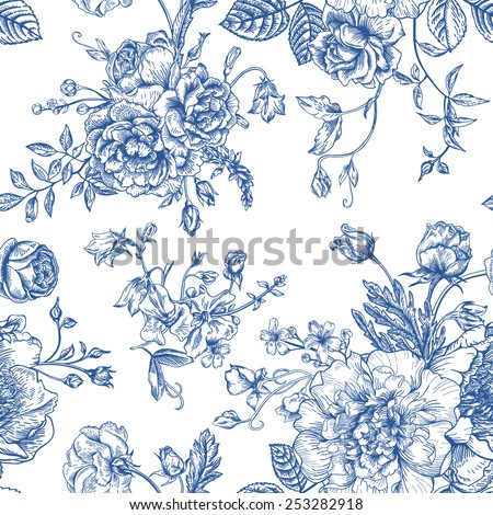 Seamless vector vintage pattern with bouquet of blue flowers on a white background. Peonies, roses, sweet peas, bell. Monochrome. - stock vector