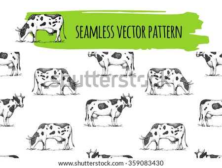 Seamless vector vintage pattern with cows. Retro hand drawn  illustration. Farm animals. Logotype.  Cows on the glade.