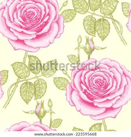 Seamless vector vintage pattern with garden colorful flowers. Roses. - stock vector