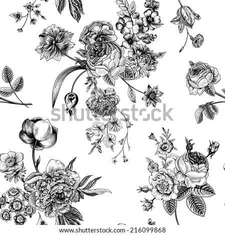 Seamless vector vintage pattern with Victorian bouquet of black flowers on a white background. Garden roses, tulips, delphinium, petunia. Monochrome. - stock vector