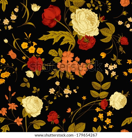 Black and rose floral vintage background patterns
