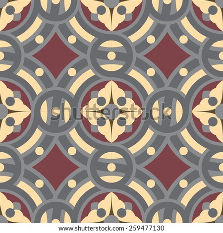 Seamless vector vintage tile background pattern in golden, gray, vinous colors. The main element of mosaic is abstract flower in circles. - stock vector