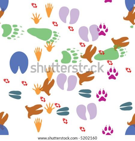 Seamless vector wallpaper pattern of eight footprint tracks of wild animals in color:  cow, fox, raccoon, horse, deer, bear, wolf, boar.