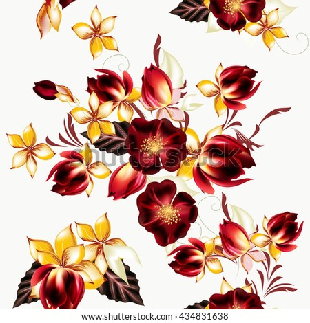 Seamless vector wallpaper pattern with flowers - stock vector