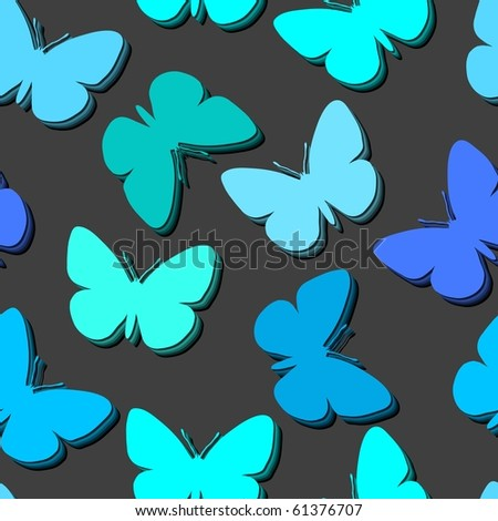 Seamless vector wallpaper with butterflies - stock vector
