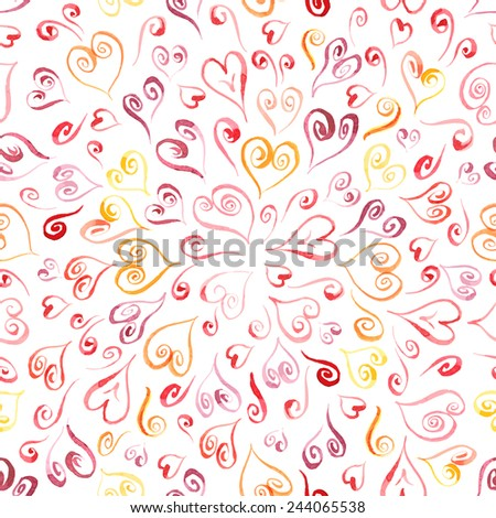 Seamless vector watercolor heart art pattern. Retro hand drawn character background. Colorful hearts painted texture. Can be used on any background. - stock vector