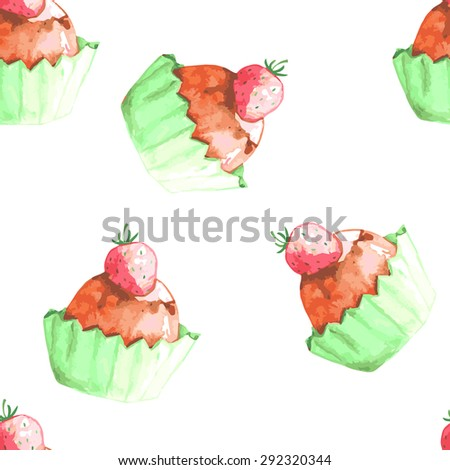 Seamless vector watercolor pattern with cupcakes. Party invitation, wedding invitation. Colored background for sweetshop. Cute backdrop for decoration. - stock vector