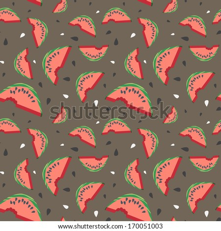 Seamless vector watermelon pattern with seeds (birthday party, wedding celebration, wrapping paper, textile, wallpaper design)