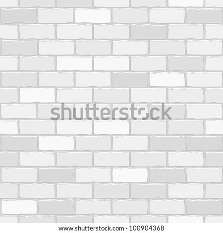 Seamless vector white brick wall - background pattern for continuous replicate. - stock vector