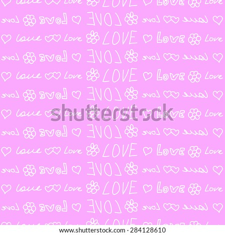 seamless vector with inscriptions of love - stock vector