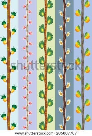 seamless vertical decorative branches