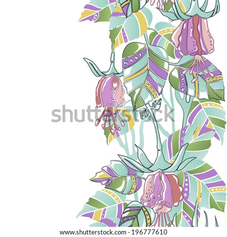 Seamless vertical pattern amazing flowers