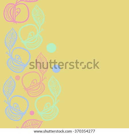 Seamless  vertical pattern, doodles,apples, leaves,grains copy space. Hand drawn.
