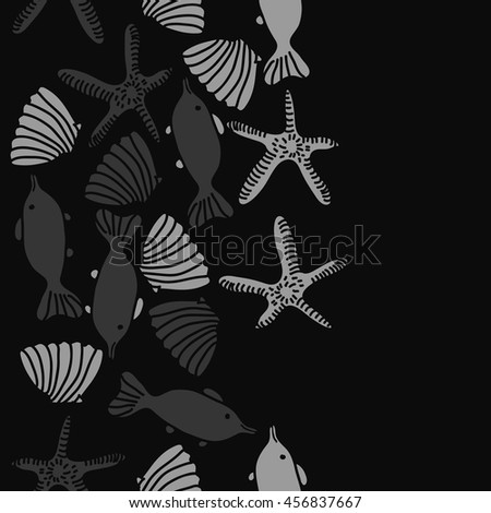 Seamless   vertical   pattern of  marine inhibitions , doodles, starfishes, spot, hole,  fishes, shells, object, copy space. Hand drawn.