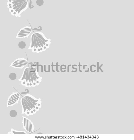 Seamless vertical pattern of  stylized  flowers,branches. Hand drawn.
