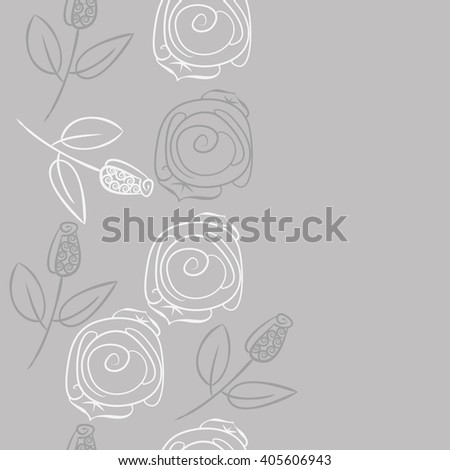 Seamless vertical pattern of stylized rosy,leaves,  floral, spirals, branches, buds, copy space. Hand drawn.