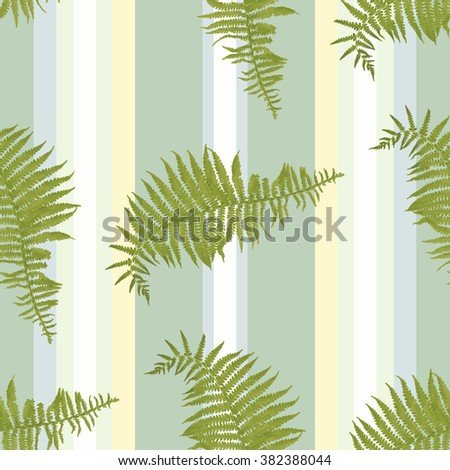 Seamless vertical pattern with fern leaves on of striped yellow green background. Vector illustration for wallpaper, textile - stock vector