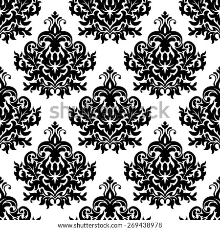 Seamless victorian floral black and white pattern with damask repeated motif of lush curly flower and leave scrolls for luxury wallpaper or tapestry design - stock vector