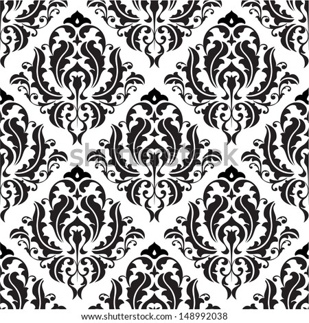 Seamless victorian pattern isolated on white - stock vector
