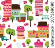 Seamless village new home background pattern in vector - stock photo