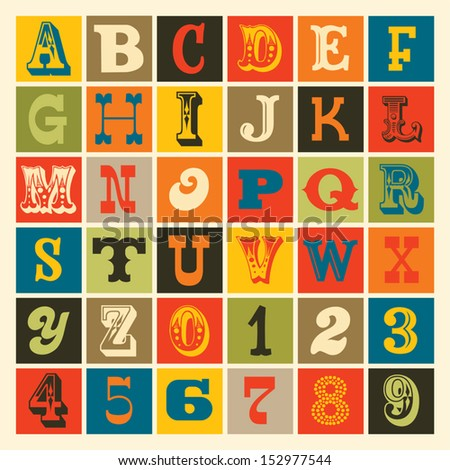 Seamless vintage alphabet in retro colors. Good for posters, prints, textiles, scrap-booking, gift wrap, packaging. See my portfolio for JPEG version and for other colors.  - stock vector