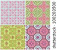 Seamless Vintage Background Collection - Victorian Colorful Tile in vector - stock vector