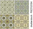 Seamless Vintage Background Collection - Victorian Tile in vector - stock photo