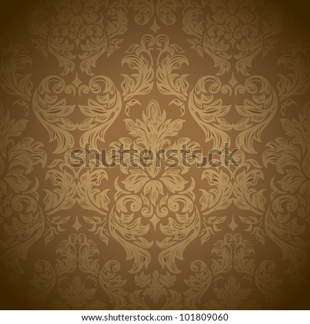 Seamless vintage background in brown  Vector background for textile design.  Wallpaper, background, baroque pattern - stock vector