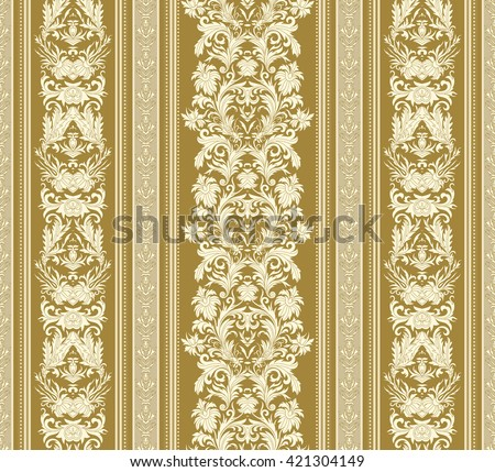 Seamless Vintage Background Royal Renaissance Striped Wallpaper Vector For Textile Design