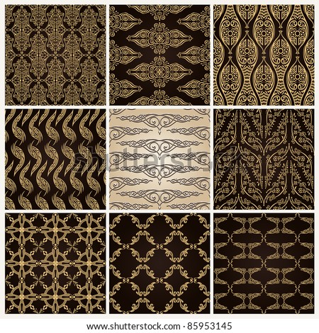 seamless vintage background set ornate baroque wallpaper vector - stock vector