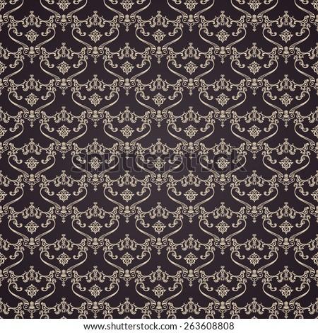 Seamless vintage backgrounds. Calligraphic pattern vector. Royal elegant ornament dark wallpaper - stock vector