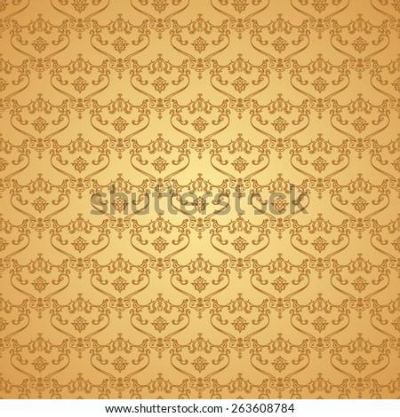 Seamless vintage backgrounds. Calligraphic vector pattern. Royal elegant ornament gold wallpaper - stock vector