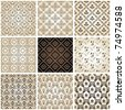 seamless vintage backgrounds set brown baroque Pattern. Vector gold set - stock photo