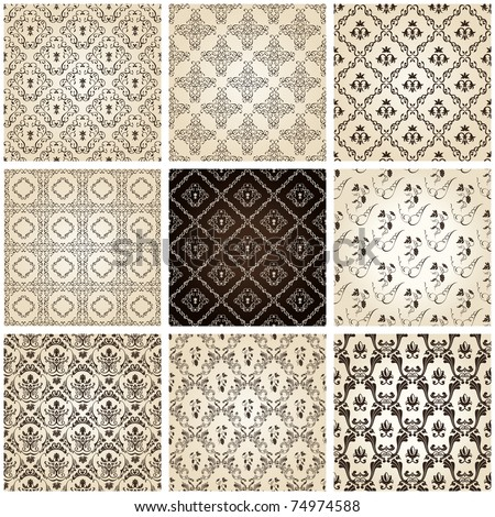 seamless vintage backgrounds set brown baroque Pattern. Vector set - stock vector